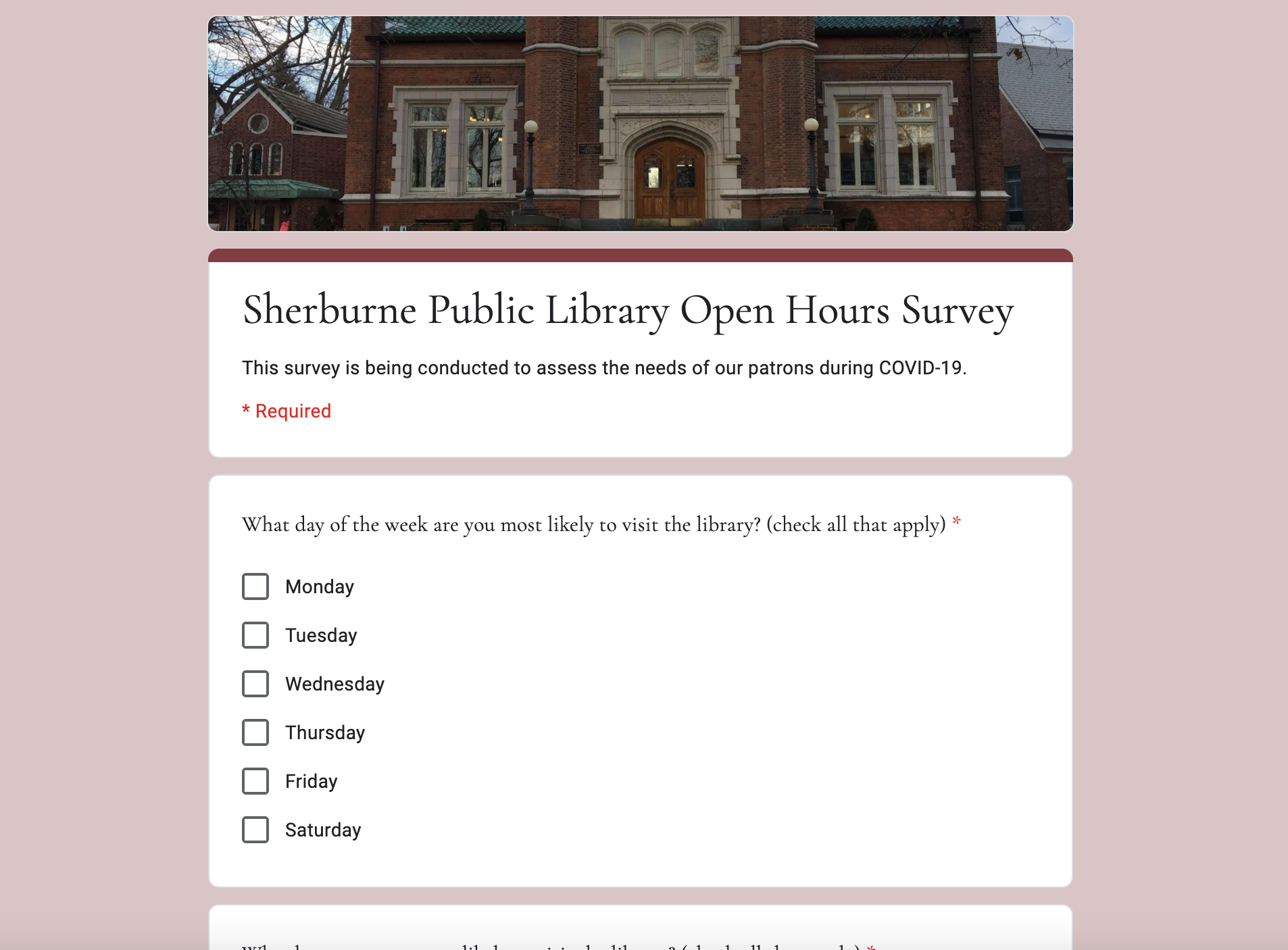 Want to give us feedback on the hours we are open to the public during COVID-19? Take this google survey and let us know your preferred hours!